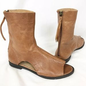 Free People Leather Peep Toe Bootie Womens 40 / 9